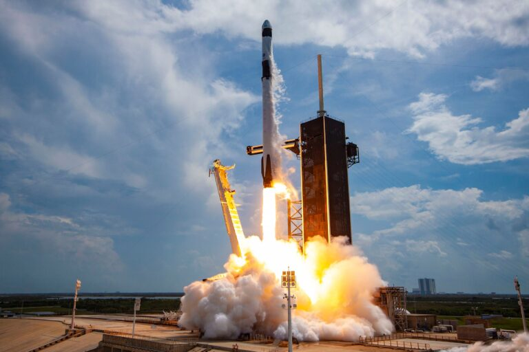 CAPE CANAVERAL, FLORIDA - MAY 30: In this SpaceX handout image, a Falcon 9 rocket carrying the company's Crew Dragon spacecraft launches on the Demo-2 mission to the International Space Station with NASA astronauts Robert Behnken and Douglas Hurley onboard at Launch Complex 39A May 30, 2020, at the Kennedy Space Center, Florida. The Demo-2 mission is the first launch of a manned SpaceX Crew Dragon spacecraft. It was the first launch of an American crew from U.S. soil since the conclusion of the Space Shuttle program in 2011. (Photo by SpaceX via Getty Images)